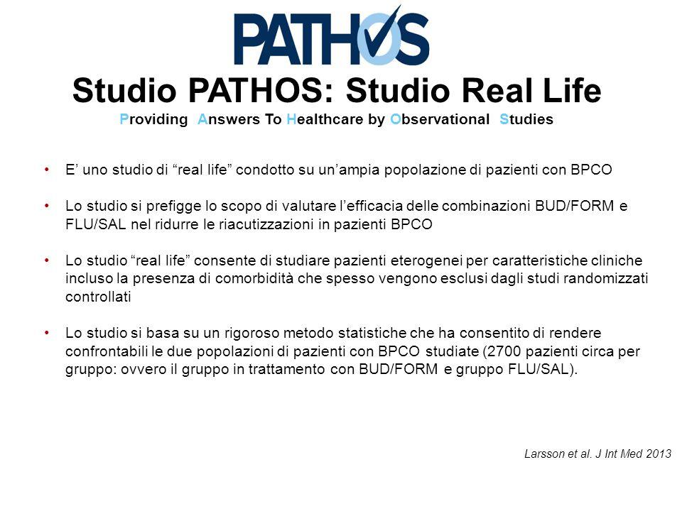 """Studio PATHOS: Studio Real Life Providing Answers To Healthcare by Observational Studies E' uno studio di """"real life"""" condotto su un'ampia popolazione"""