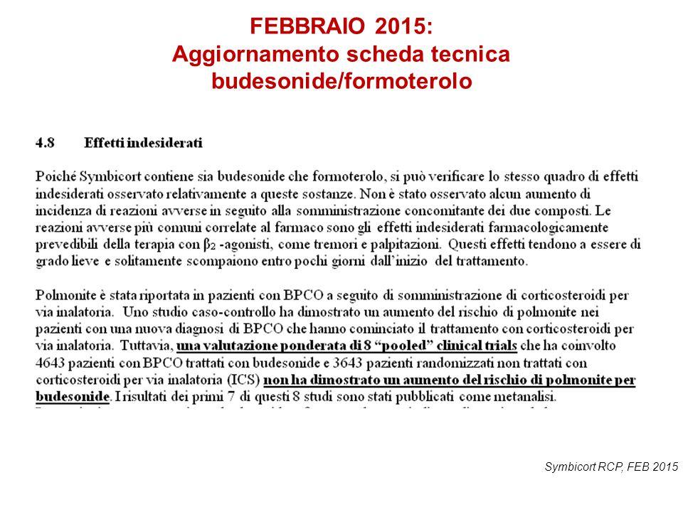 FEBBRAIO 2015: Aggiornamento scheda tecnica budesonide/formoterolo Symbicort RCP, FEB 2015