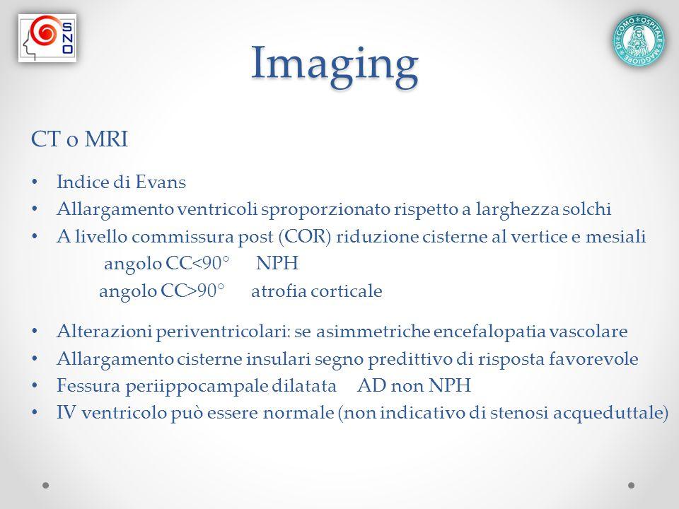 Imaging CT o MRI Indice di Evans Allargamento ventricoli sproporzionato rispetto a larghezza solchi A livello commissura post (COR) riduzione cisterne