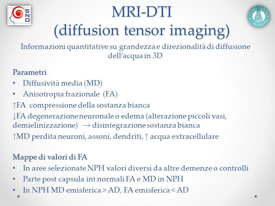 MRI-DTI (diffusion tensor imaging) Informazioni quantitative su grandezza e direzionalità di diffusione dell'acqua in 3DParametri Diffusività media (M