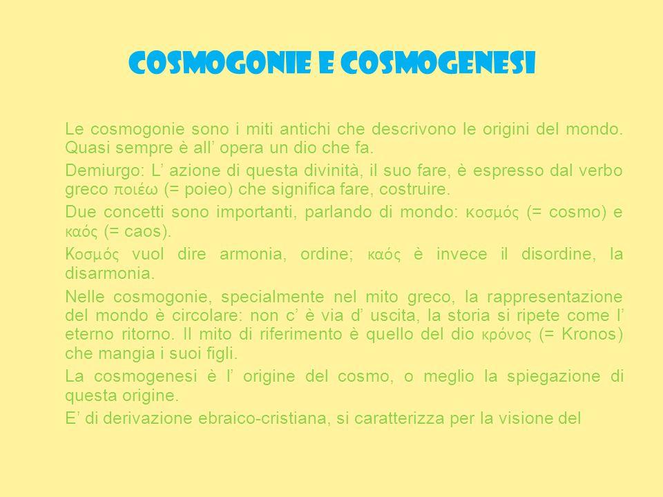 Cosmogonie e cosmogenesi cosmo, cioè di una realtà ordinata ed armoniosa, verso una meta ultima, un fine.