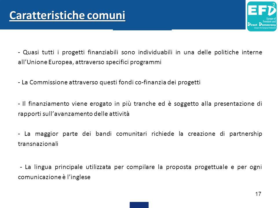 - Quasi tutti i progetti finanziabili sono individuabili in una delle politiche interne all'Unione Europea, attraverso specifici programmi - La Commis