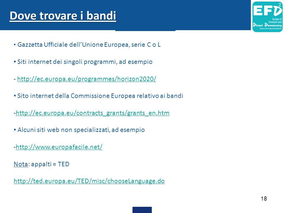 Gazzetta Ufficiale dell'Unione Europea, serie C o L Siti internet dei singoli programmi, ad esempio - http://ec.europa.eu/programmes/horizon2020/http: