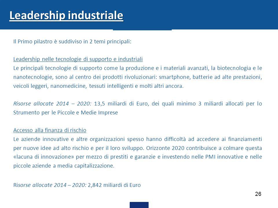26 Leadership industriale Il Primo pilastro è suddiviso in 2 temi principali: Leadership nelle tecnologie di supporto e industriali Le principali tecn