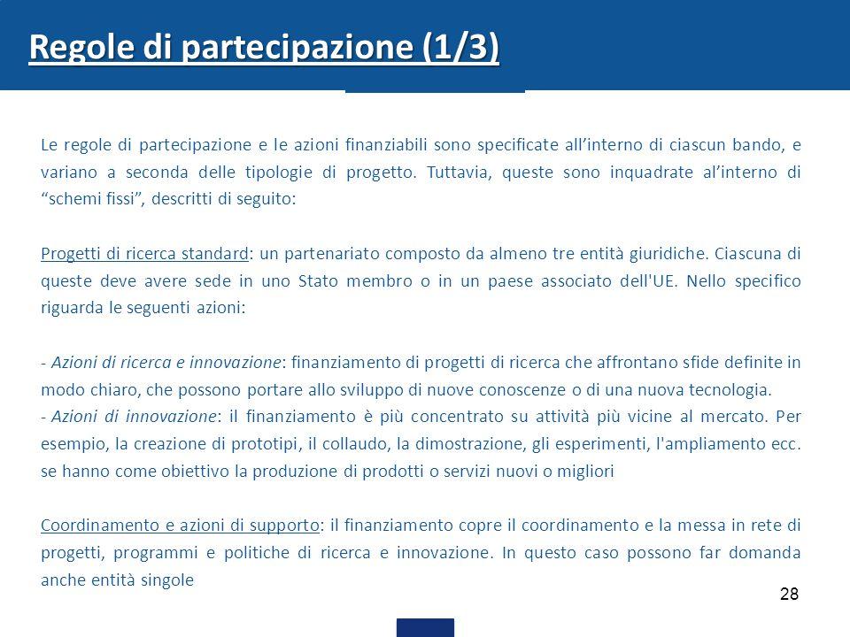 28 Regole di partecipazione (1/3) Le regole di partecipazione e le azioni finanziabili sono specificate all'interno di ciascun bando, e variano a seco