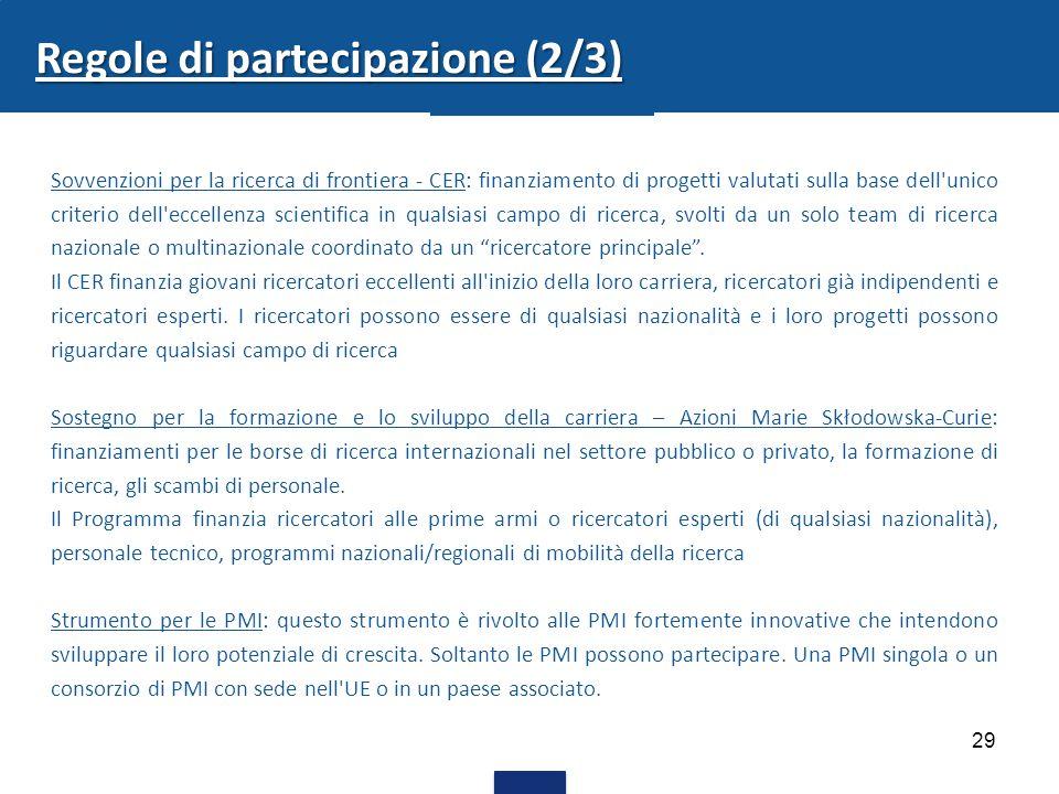 29 Regole di partecipazione (2/3) Sovvenzioni per la ricerca di frontiera - CER: finanziamento di progetti valutati sulla base dell'unico criterio del