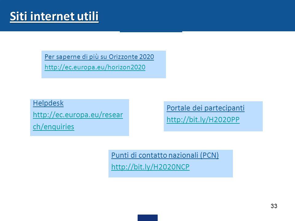 33 Siti internet utili Portale dei partecipanti http://bit.ly/H2020PP Helpdesk http://ec.europa.eu/resear ch/enquiries Per saperne di più su Orizzonte