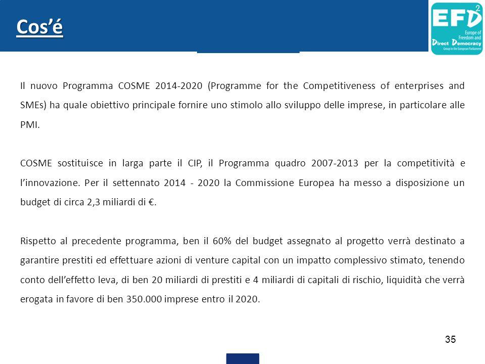 Il nuovo Programma COSME 2014-2020 (Programme for the Competitiveness of enterprises and SMEs) ha quale obiettivo principale fornire uno stimolo allo