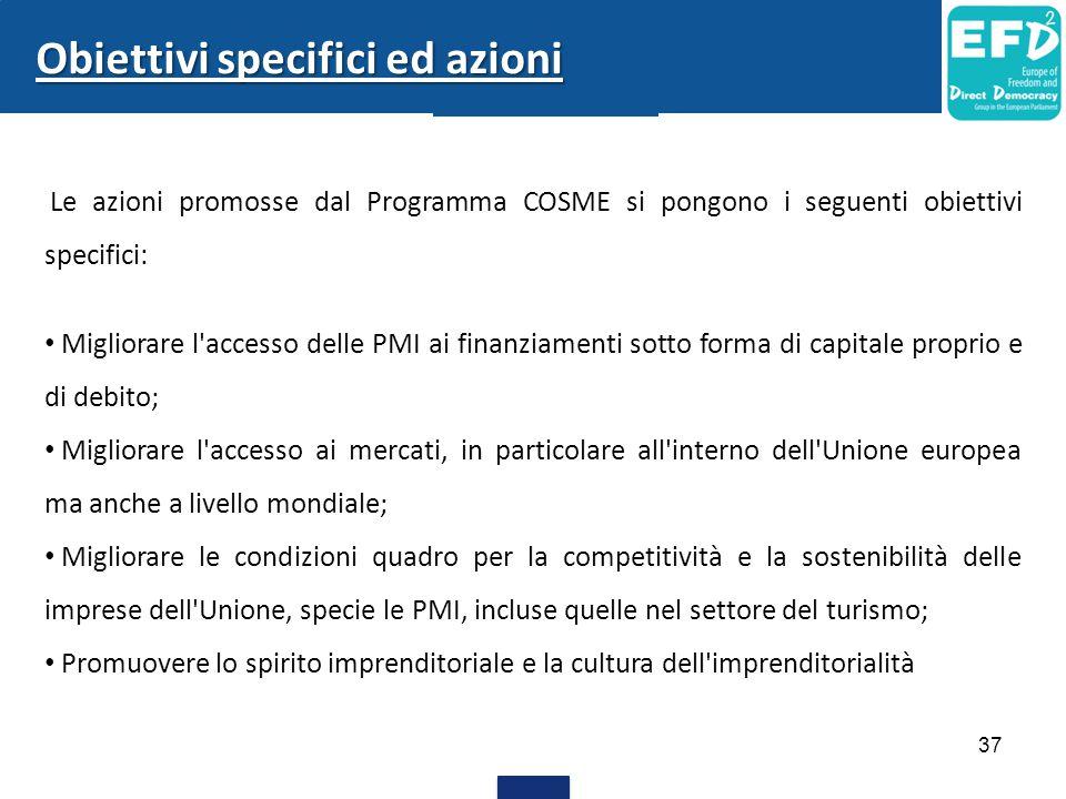 37 Le azioni promosse dal Programma COSME si pongono i seguenti obiettivi specifici: Migliorare l'accesso delle PMI ai finanziamenti sotto forma di ca