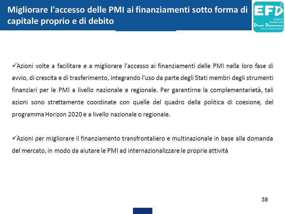 38 Migliorare l'accesso delle PMI ai finanziamenti sotto forma di capitale proprio e di debito Azioni volte a facilitare e a migliorare l'accesso ai f