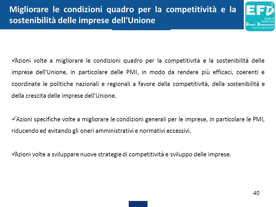 40 Migliorare le condizioni quadro per la competitività e la sostenibilità delle imprese dell'Unione Azioni volte a migliorare le condizioni quadro pe
