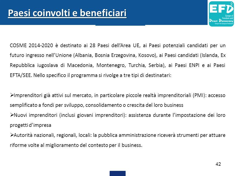 42 Paesi coinvolti e beneficiari COSME 2014-2020 è destinato ai 28 Paesi dell'Area UE, ai Paesi potenziali candidati per un futuro ingresso nell'Union
