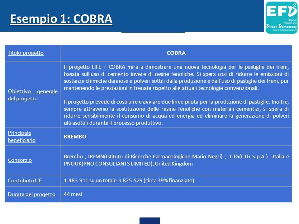 Esempio 1: COBRA Titolo progetto COBRA Obiettivo generale del progetto Il progetto LIFE + COBRA mira a dimostrare una nuova tecnologia per le pastigli