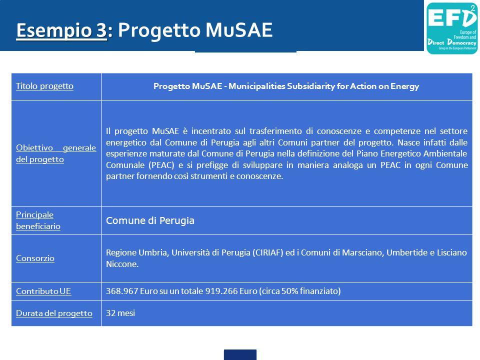 Esempio 3: Esempio 3: Progetto MuSAE Titolo progetto Progetto MuSAE - Municipalities Subsidiarity for Action on Energy Obiettivo generale del progetto