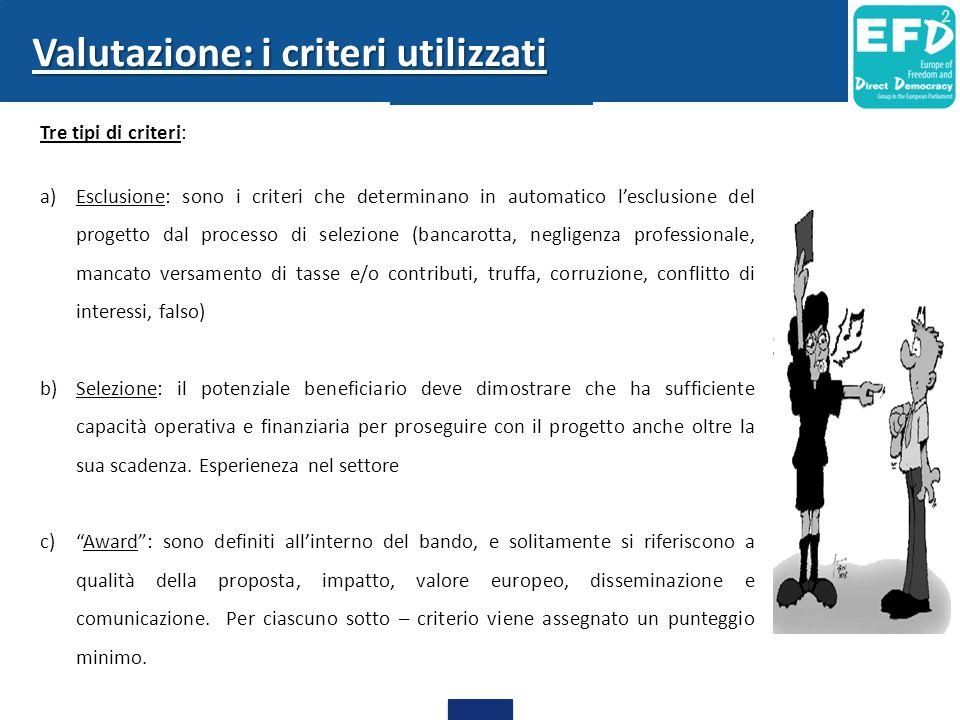 Tre tipi di criteri: a)Esclusione: sono i criteri che determinano in automatico l'esclusione del progetto dal processo di selezione (bancarotta, negli