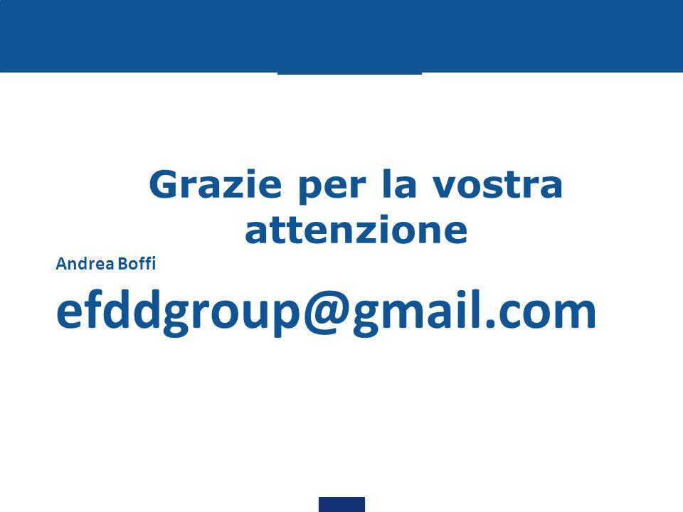Grazie per la vostra attenzione Andrea Boffi efddgroup@gmail.com