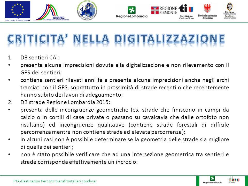 FESR Fondo Europeo di Sviluppo Regionale 11 1.DB sentieri CAI: presenta alcune imprecisioni dovute alla digitalizzazione e non rilevamento con il GPS