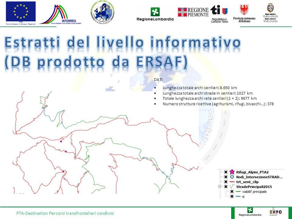 FESR Fondo Europeo di Sviluppo Regionale 8 PTA-Destination Percorsi transfrontalieri condivisi DATI Lunghezza totale archi sentieri: 8.650 km Lunghezz
