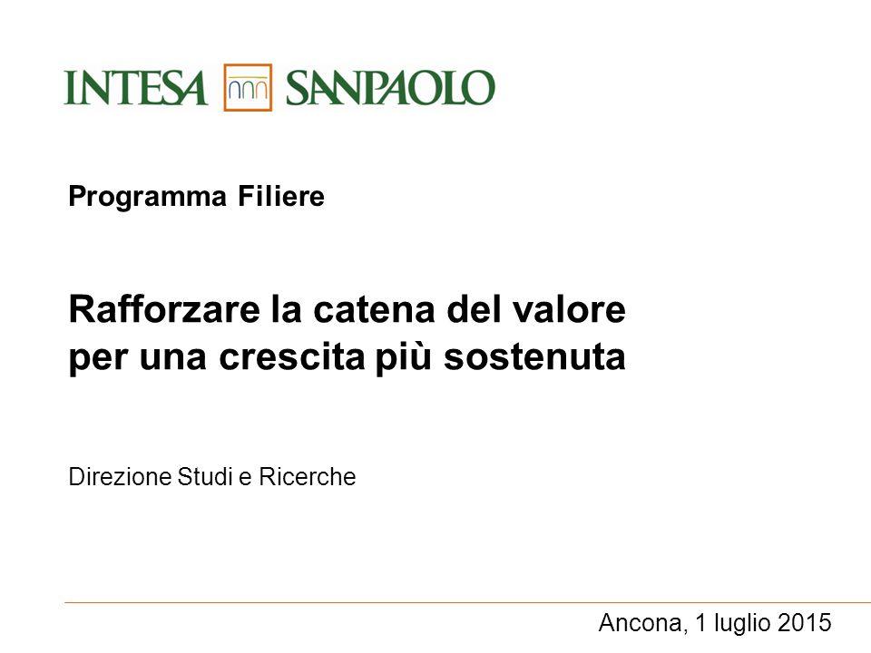 Direzione Studi e Ricerche Rafforzare la catena del valore per una crescita più sostenuta Ancona, 1 luglio 2015 Programma Filiere