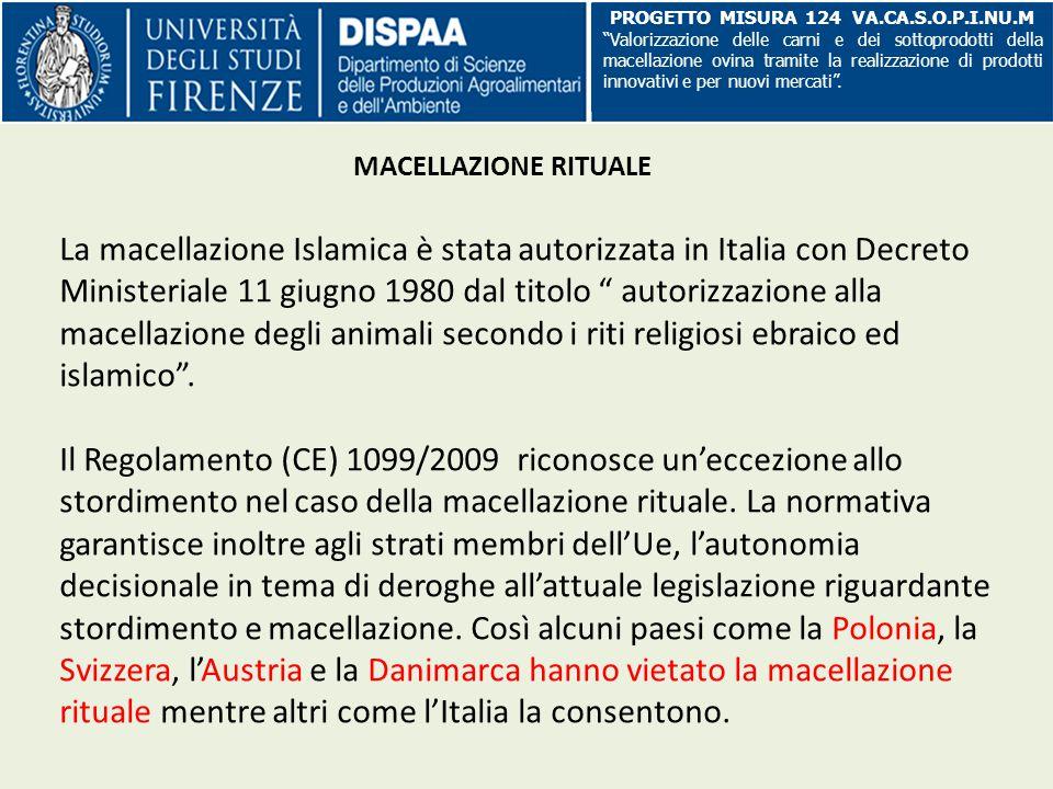 La macellazione Islamica è stata autorizzata in Italia con Decreto Ministeriale 11 giugno 1980 dal titolo autorizzazione alla macellazione degli animali secondo i riti religiosi ebraico ed islamico .