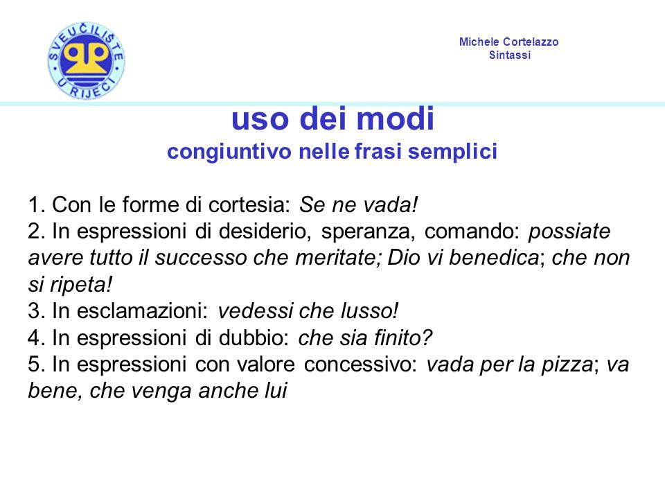 Michele Cortelazzo Sintassi uso dei modi congiuntivo nelle frasi semplici 1. Con le forme di cortesia: Se ne vada! 2. In espressioni di desiderio, spe