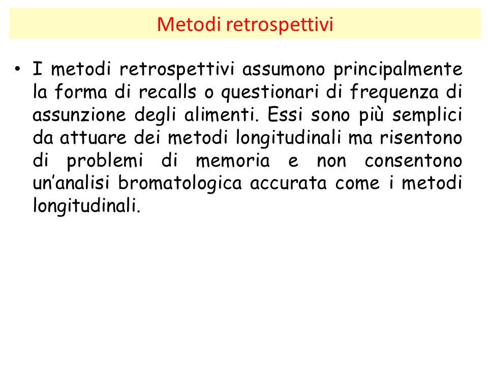 Metodi retrospettivi I metodi retrospettivi assumono principalmente la forma di recalls o questionari di frequenza di assunzione degli alimenti. Essi