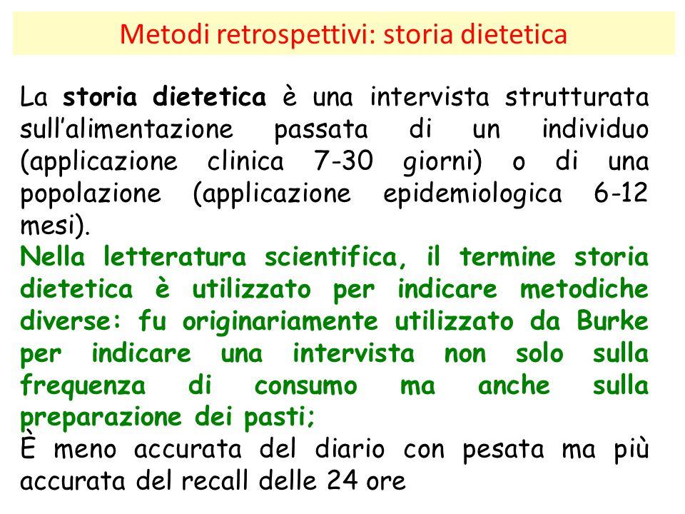 Metodi retrospettivi: storia dietetica La storia dietetica è una intervista strutturata sull'alimentazione passata di un individuo (applicazione clini