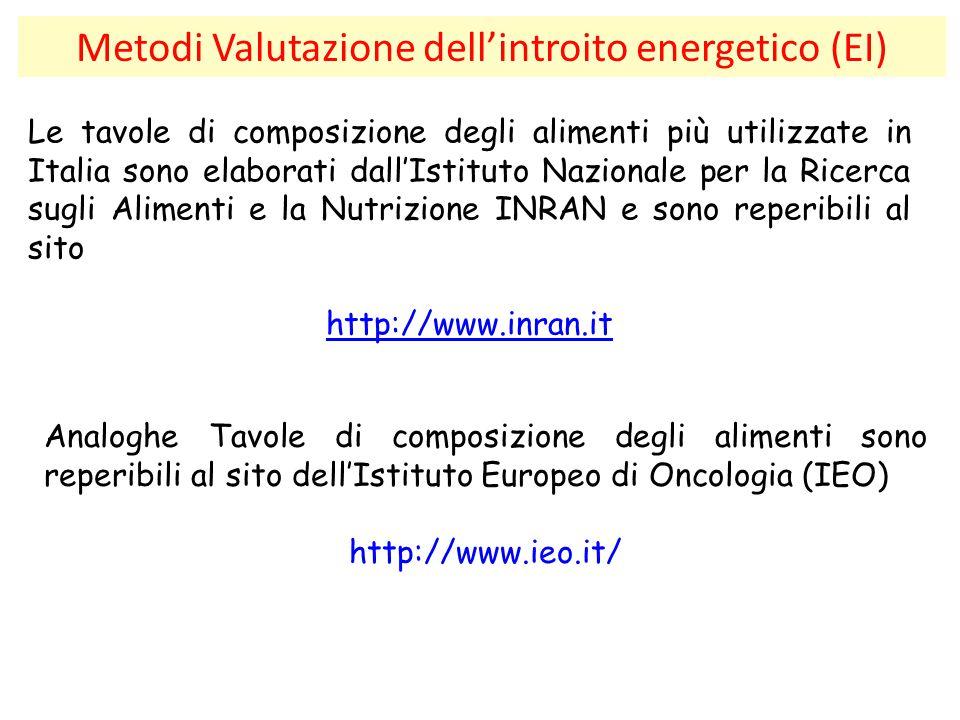 Metodi Valutazione dell'introito energetico (EI) Le tavole di composizione degli alimenti più utilizzate in Italia sono elaborati dall'Istituto Nazion