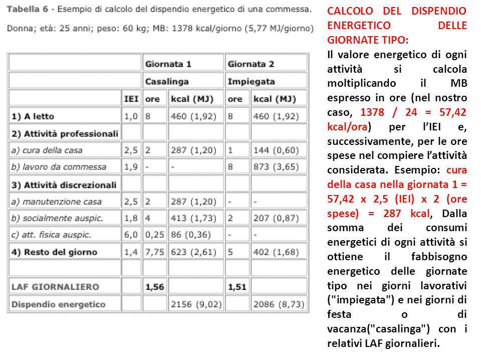 CALCOLO DEL DISPENDIO ENERGETICO DELLE GIORNATE TIPO: Il valore energetico di ogni attività si calcola moltiplicando il MB espresso in ore (nel nostro