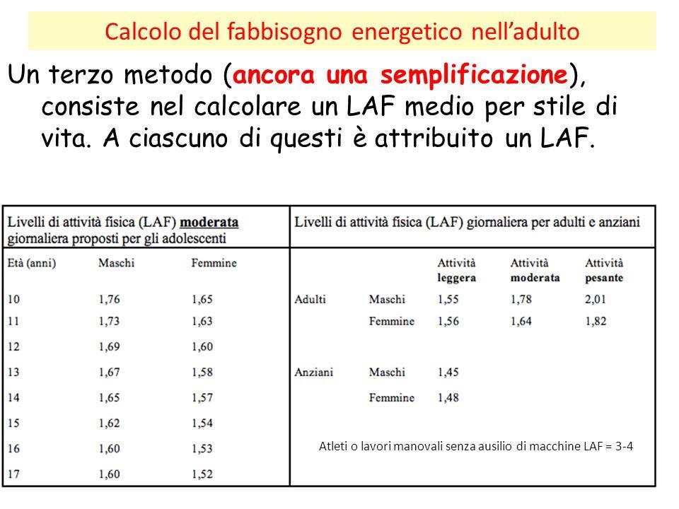 Calcolo del fabbisogno energetico nell'adulto Un terzo metodo (ancora una semplificazione), consiste nel calcolare un LAF medio per stile di vita. A c