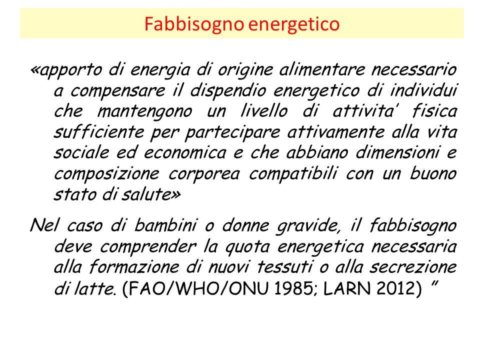 Fabbisogno energetico «apporto di energia di origine alimentare necessario a compensare il dispendio energetico di individui che mantengono un livello