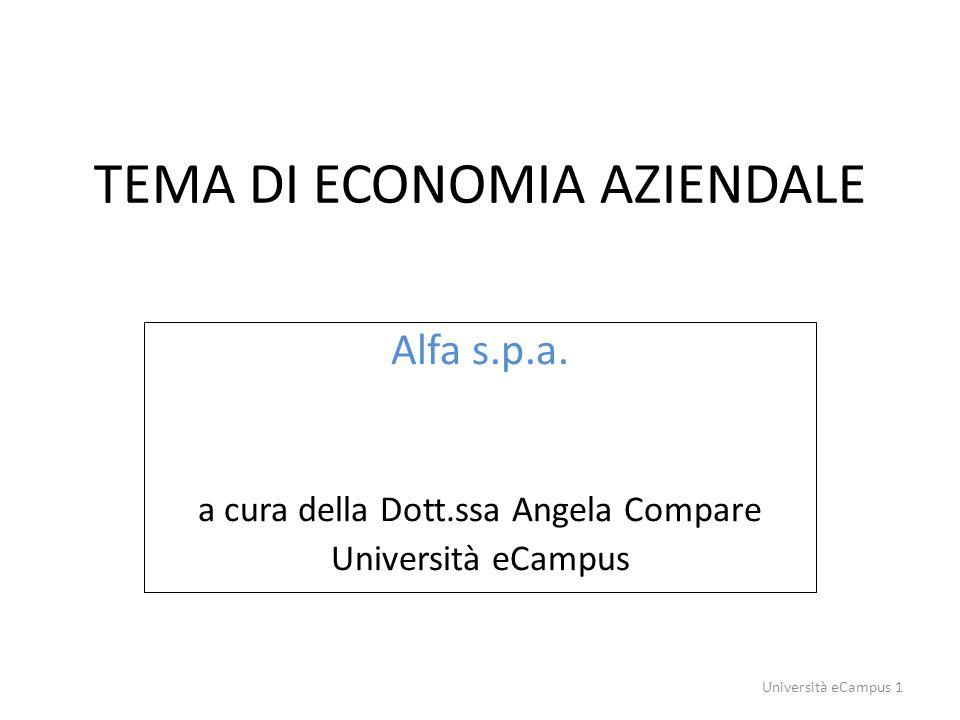 TEMA DI ECONOMIA AZIENDALE Alfa s.p.a. a cura della Dott.ssa Angela Compare Università eCampus Università eCampus 1