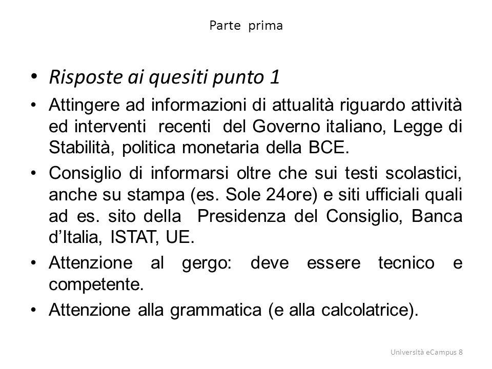 Parte prima Risposte ai quesiti punto 1 Attingere ad informazioni di attualità riguardo attività ed interventi recenti del Governo italiano, Legge di