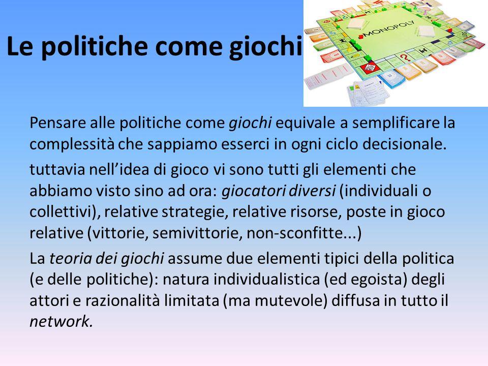 Le politiche come giochi Pensare alle politiche come giochi equivale a semplificare la complessità che sappiamo esserci in ogni ciclo decisionale.