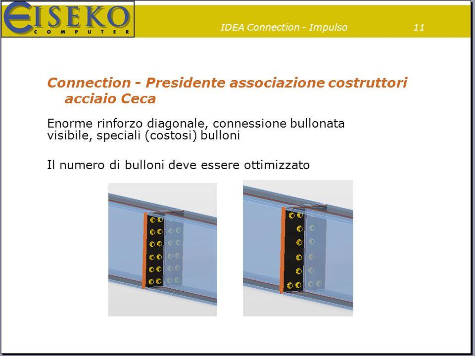 Connection - Presidente associazione costruttori acciaio Ceca Enorme rinforzo diagonale, connessione bullonata visibile, speciali (costosi) bulloni Il