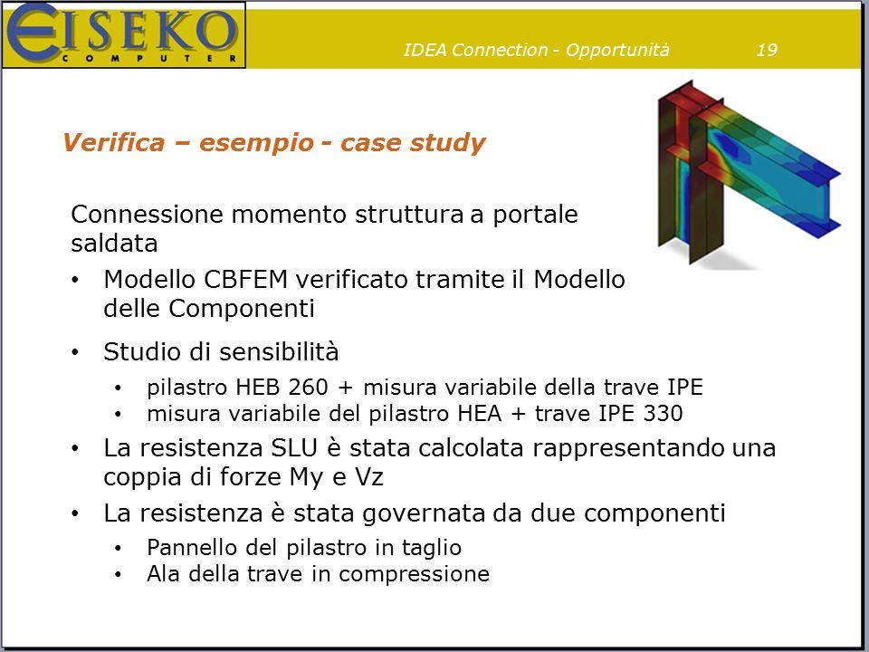 Verifica – esempio - case study 19IDEA Connection - Opportunità Connessione momento struttura a portale saldata Modello CBFEM verificato tramite il Mo