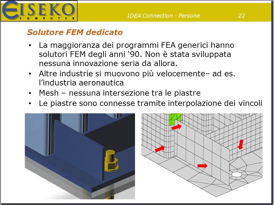 Solutore FEM dedicato 22 La maggioranza dei programmi FEA generici hanno solutori FEM degli anni '90. Non è stata sviluppata nessuna innovazione seria