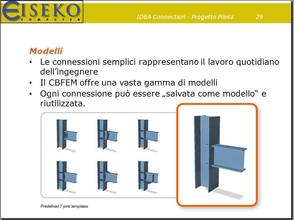 Modelli 29IDEA Connection - Progetto Pilota Le connessioni semplici rappresentano il lavoro quotidiano dell'ingegnere Il CBFEM offre una vasta gamma d