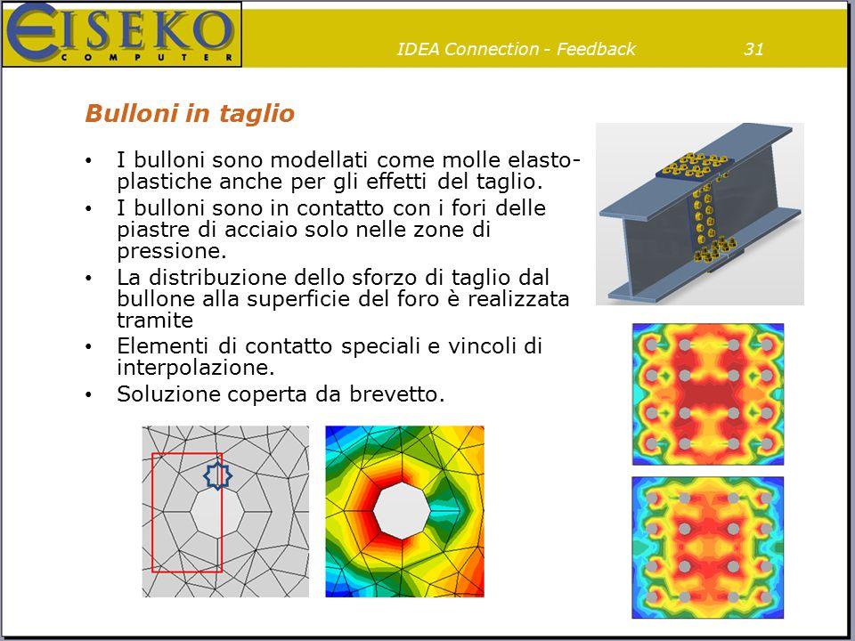 Bulloni in taglio 31IDEA Connection - Feedback I bulloni sono modellati come molle elasto- plastiche anche per gli effetti del taglio. I bulloni sono