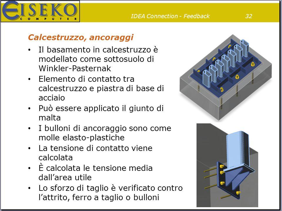 Calcestruzzo, ancoraggi Il basamento in calcestruzzo è modellato come sottosuolo di Winkler-Pasternak Elemento di contatto tra calcestruzzo e piastra