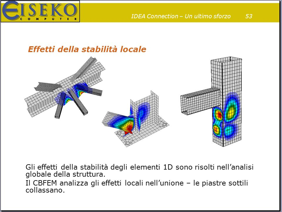 53 Effetti della stabilità locale Gli effetti della stabilità degli elementi 1D sono risolti nell'analisi globale della struttura. Il CBFEM analizza g