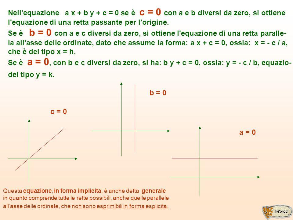 EQUAZIONE IMPLICITA DI UNA RETTA GENERICA Un'equazione lineare in due variabili x e y assume sempre la forma: a x + b y + c = 0 Se esplicitiamo tale e