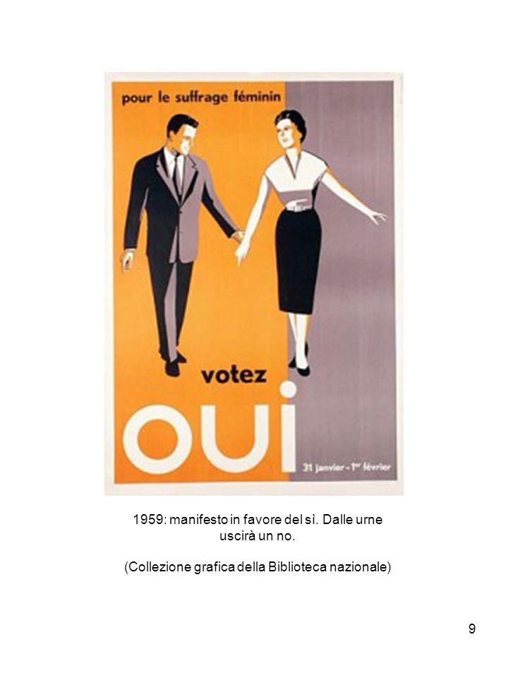 9 1959: manifesto in favore del sì.Dalle urne uscirà un no.