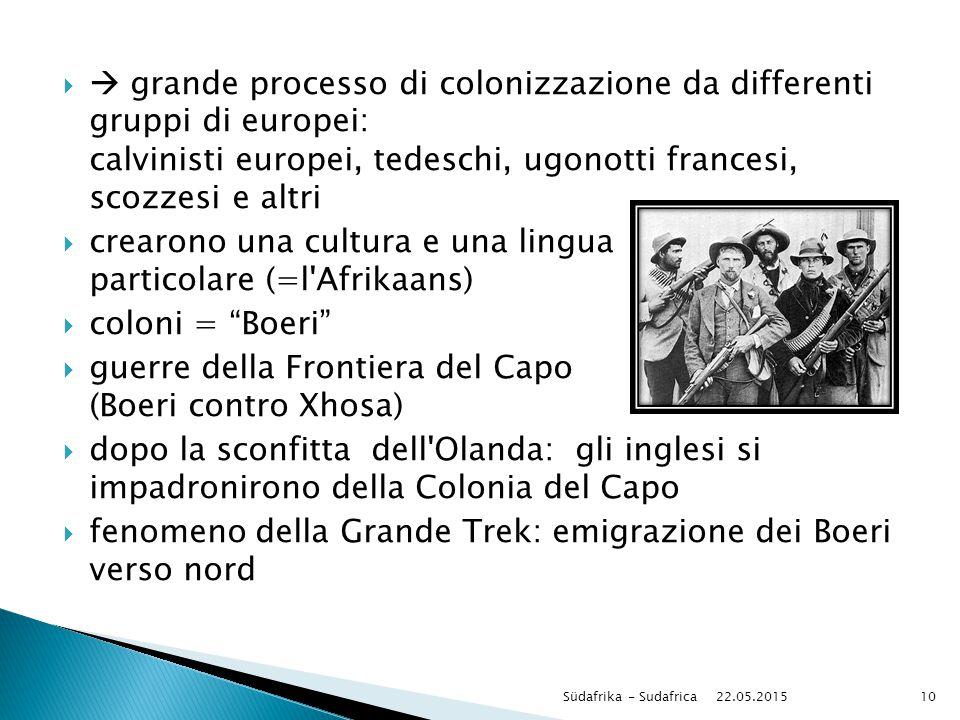   grande processo di colonizzazione da differenti gruppi di europei: calvinisti europei, tedeschi, ugonotti francesi, scozzesi e altri  crearono un