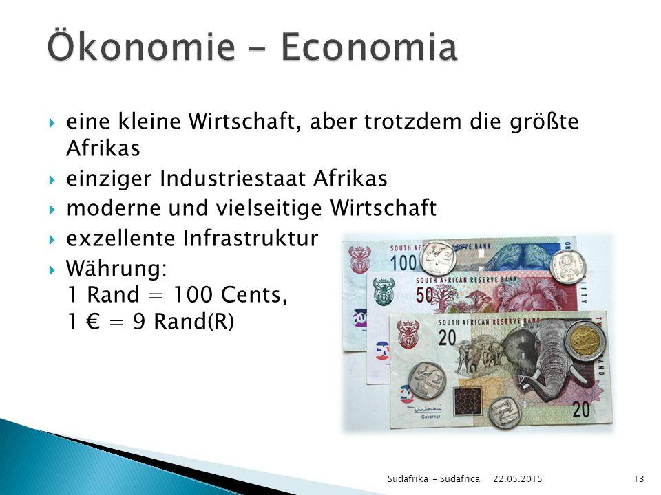  eine kleine Wirtschaft, aber trotzdem die größte Afrikas  einziger Industriestaat Afrikas  moderne und vielseitige Wirtschaft  exzellente Infrast