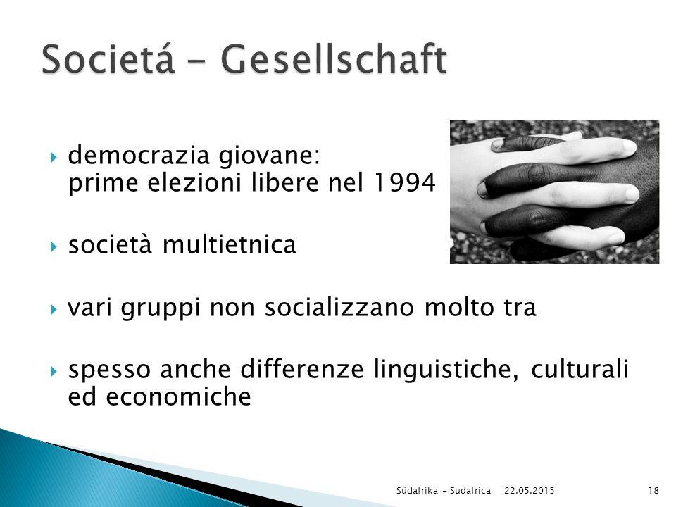  democrazia giovane: prime elezioni libere nel 1994  società multietnica  vari gruppi non socializzano molto tra  spesso anche differenze linguist