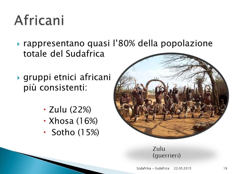  rappresentano quasi l'80% della popolazione totale del Sudafrica  gruppi etnici africani più consistenti:  Zulu (22%)  Xhosa (16%)  Sotho (15%)