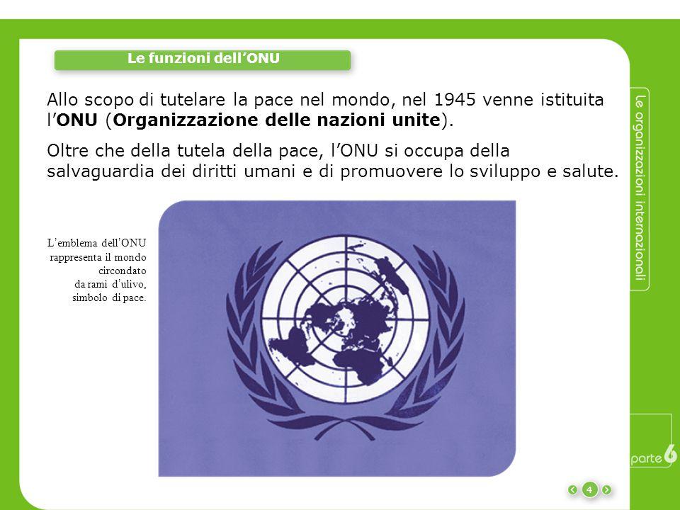 4 Le funzioni dell'ONU Allo scopo di tutelare la pace nel mondo, nel 1945 venne istituita l'ONU (Organizzazione delle nazioni unite). L ' emblema dell