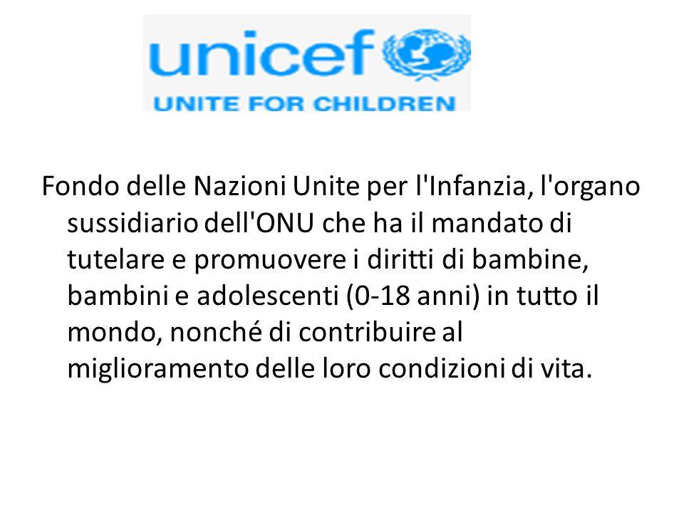 Fondo delle Nazioni Unite per l'Infanzia, l'organo sussidiario dell'ONU che ha il mandato di tutelare e promuovere i diritti di bambine, bambini e ado