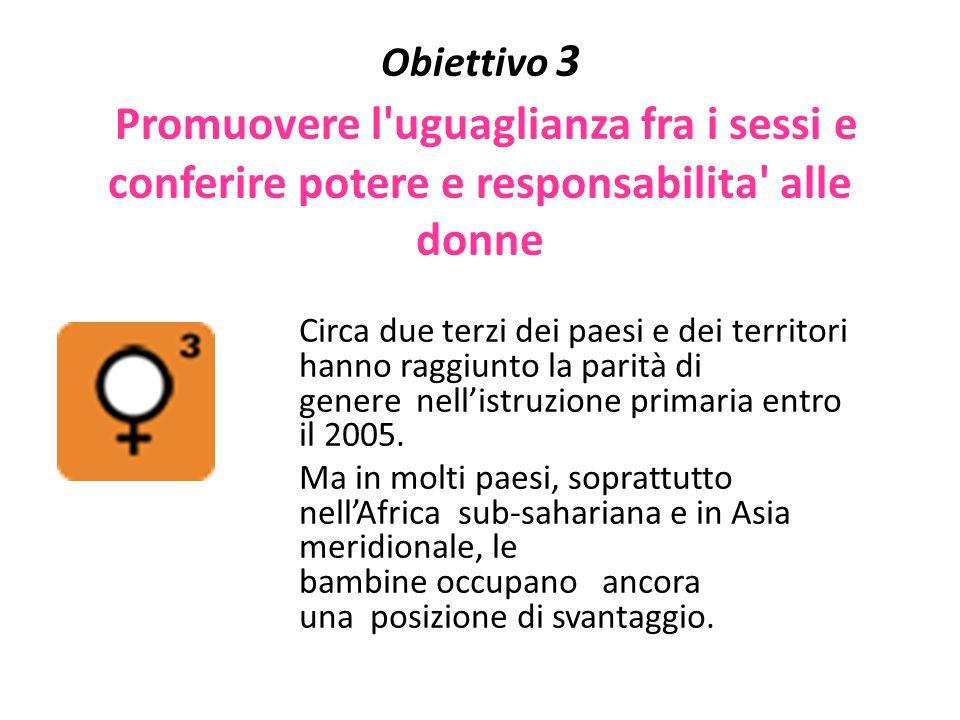 Obiettivo 3 Promuovere l'uguaglianza fra i sessi e conferire potere e responsabilita' alle donne Circa due terzi dei paesi e dei territori hanno raggi